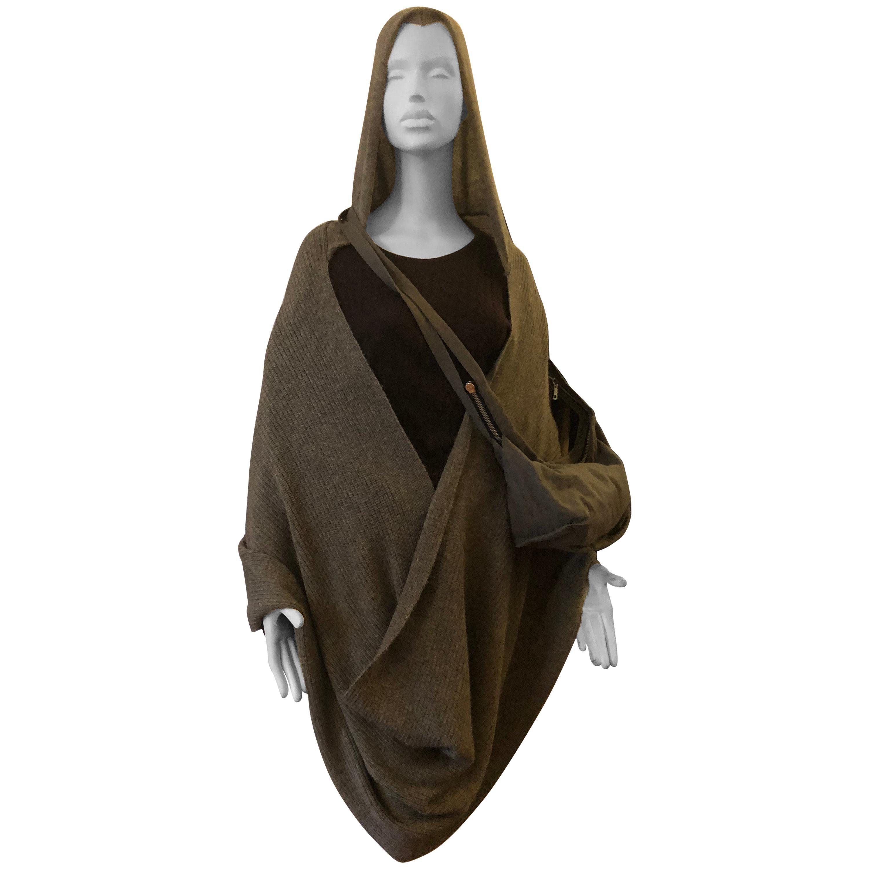 Ann Demeulemeester Apalca Hooded Wrap/Shawl w/Matching Bag