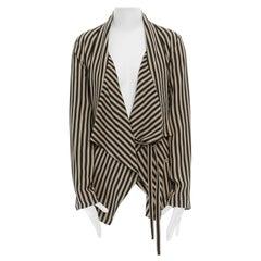 ANN DEMEULEMEESTER beige black striped draped tie waist silk jacket FR36 US2 S