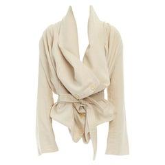 ANN DEMEULEMEESTER beige wool linen draped collar belted oversized jacket FR36 S