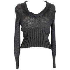Ann Demeulemeester Black Cotton Short Openwork Sweater