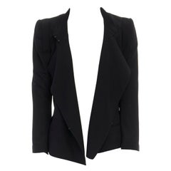 ANN DEMEULEMEESTER black draped front classic wool blazer jacket FR36 US2 UK8 S
