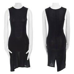 ANN DEMEULEMEESTER black rayon knit sleevless asymmetric hem casual dress FR38