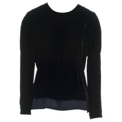 ANN DEMEULEMEESTER black velvet elasticated waist long sleeve blouse top FR36 S