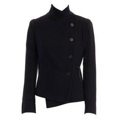 ANN DEMEULEMEESTER black virgin wool asymmetric button curved back jacket FR36 S