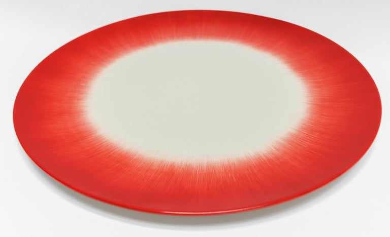 Contemporary Ann Demeulemeester for Serax Dé Dinner Plate in Off White / Red