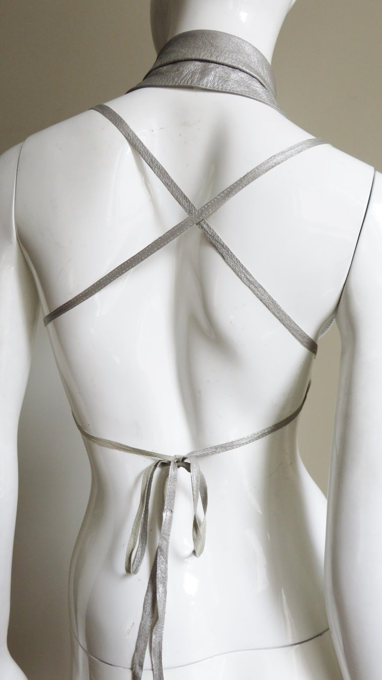 Ann Demeulemeester Silver Leather Lace Up Backless Vest For Sale 5