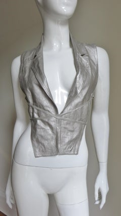 Ann Demeulemeester Silver Leather Lace Up Backless Vest