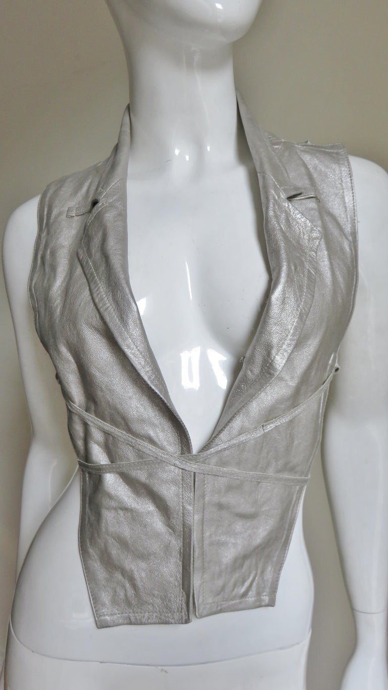 Ann Demeulemeester Silver Leather Lace Up Backless Vest For Sale 2