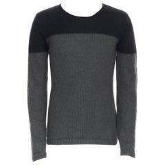 ANN DEMEULEMEESTER mohair wool black grey colorblocked sweater S