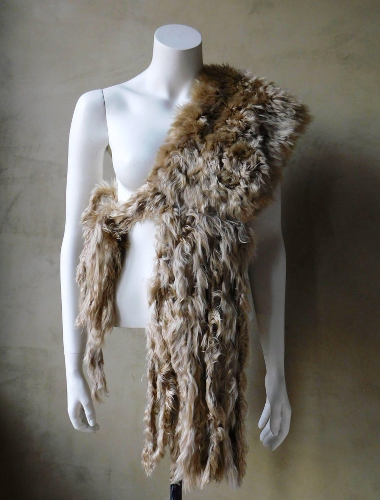 Ann Demeulemeester Natural Light Beige Llama Fur Wrap Shawl Scarf  In Good Condition For Sale In Antwerp, BE