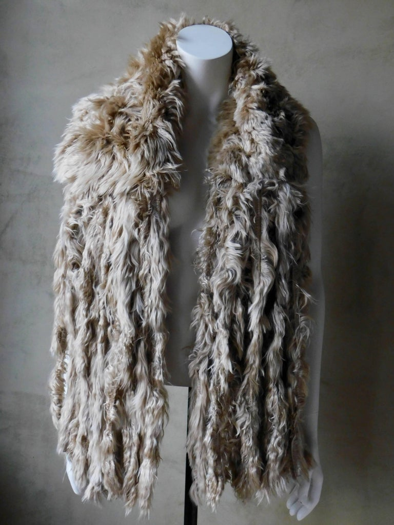 Women's or Men's Ann Demeulemeester Natural Light Beige Llama Fur Wrap Shawl Scarf  For Sale