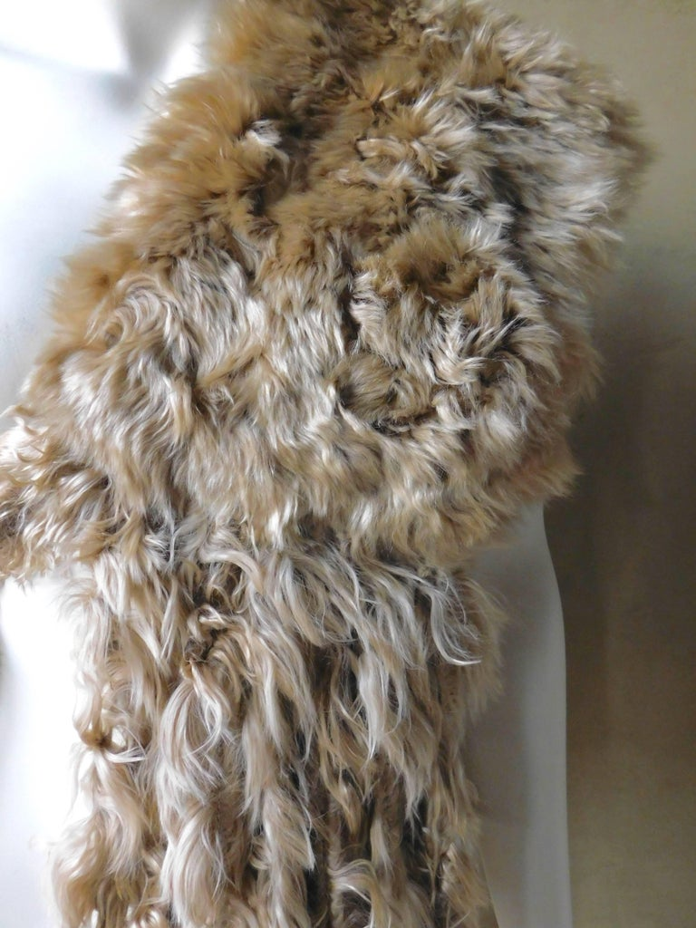 Ann Demeulemeester Natural Light Beige Llama Fur Wrap Shawl Scarf  For Sale 1