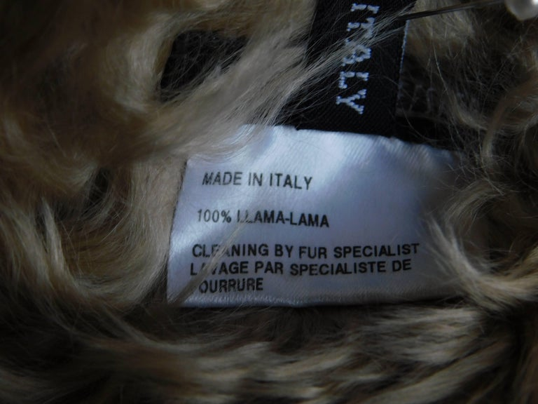 Ann Demeulemeester Natural Light Beige Llama Fur Wrap Shawl Scarf  For Sale 2