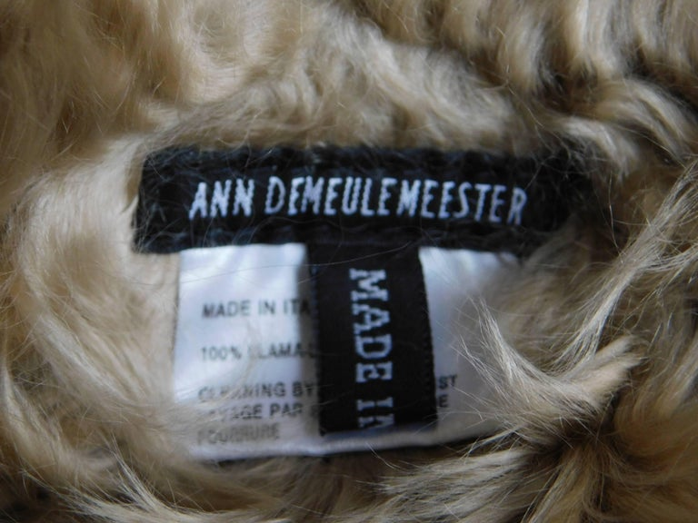 Ann Demeulemeester Natural Light Beige Llama Fur Wrap Shawl Scarf  For Sale 3
