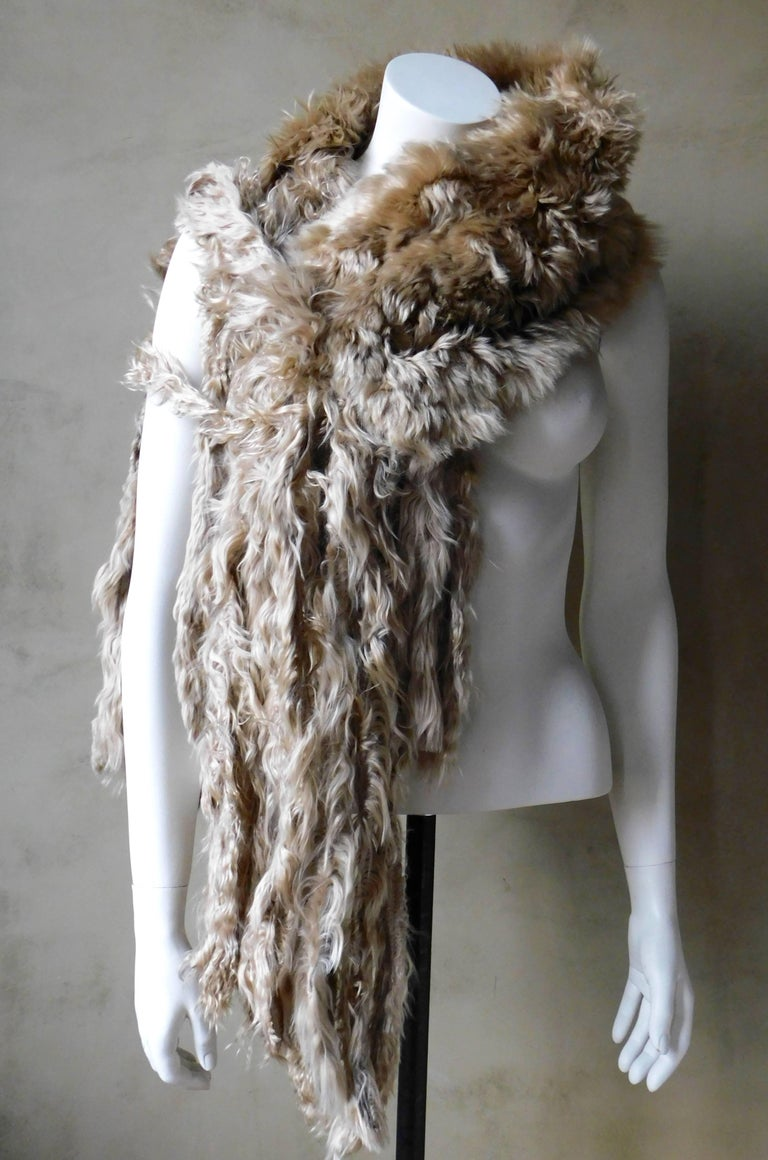 Ann Demeulemeester Natural Light Beige Llama Fur Wrap Shawl Scarf  For Sale 4