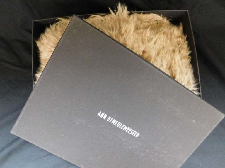 Ann Demeulemeester Natural Light Beige Llama Fur Wrap Shawl Scarf  For Sale 5