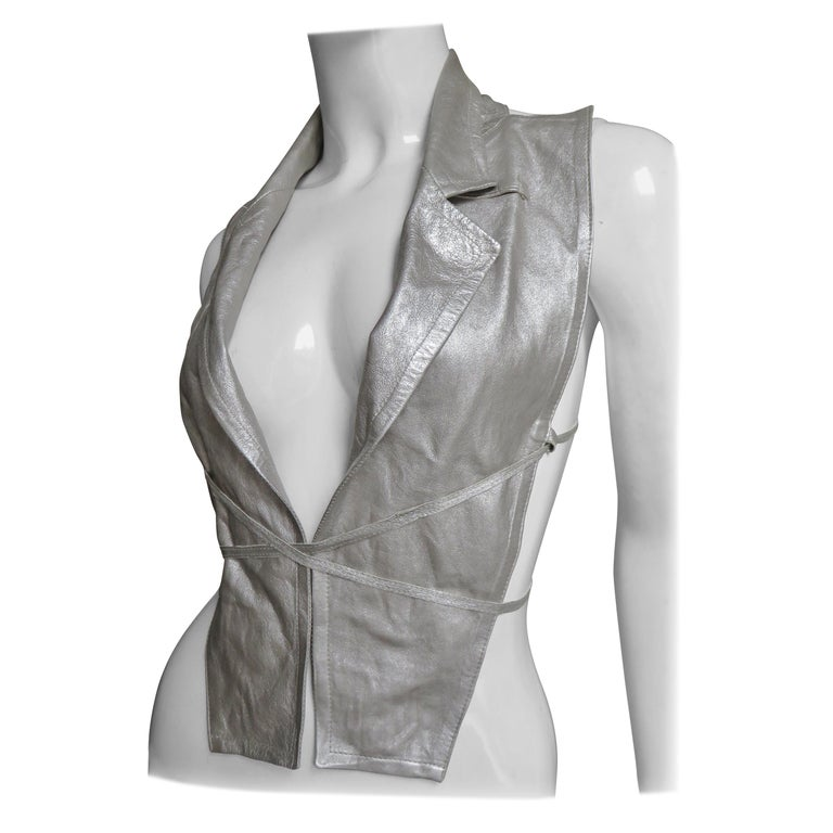 Ann Demeulemeester Silver Leather Lace Up Backless Vest For Sale