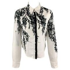 ANN DEMEULEMEESTER Size 2 Black & White Floral Print Cotton Blouse
