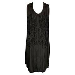 ANN DEMEULEMEESTER Size 6 Black Ruffled Shift Dress