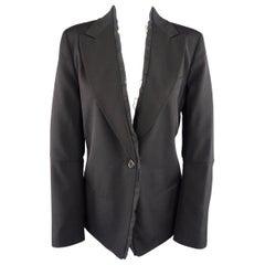 ANN DEMEULEMEESTER Size 6 Black Wool Raw Trim Peak Lapel Blazer