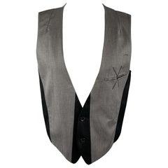 ANN DEMEULEMEESTER Size M Grey & Black Mixed Fabrics Linen Blend Vest