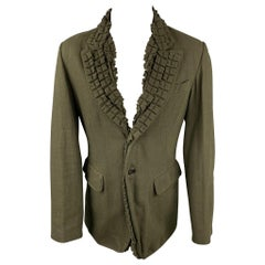 ANN DEMEULEMEESTER Size S Olive Cotton Ruffled Notch Lapel Sport Coat