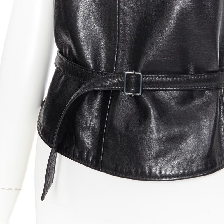 ANN DEMEULEMEESTER vintage leather chest plate armor belted vest top FR38 M For Sale 5