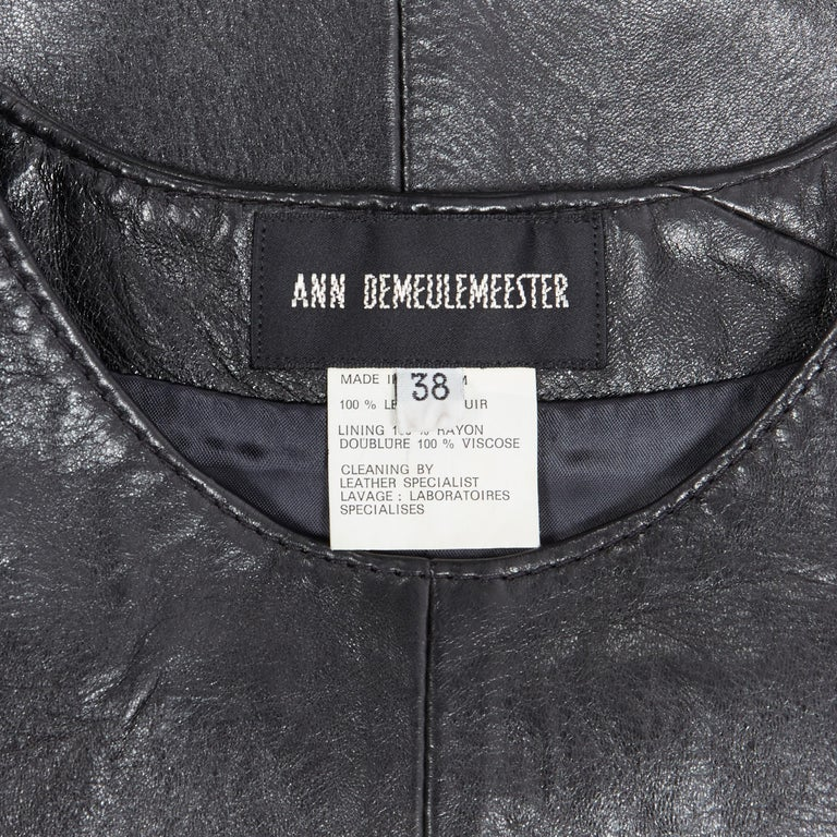 ANN DEMEULEMEESTER vintage leather chest plate armor belted vest top FR38 M For Sale 6