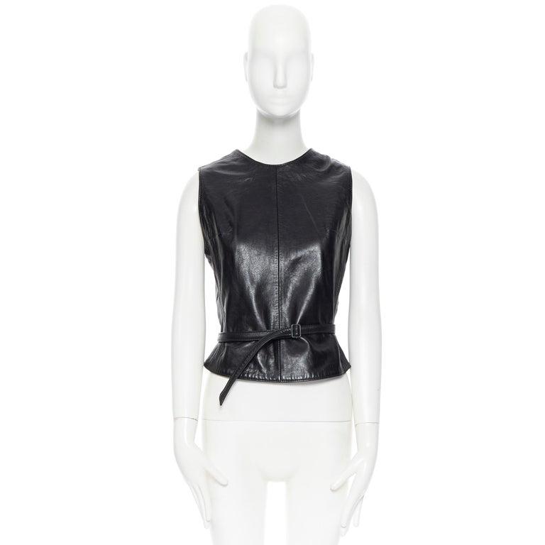 Black ANN DEMEULEMEESTER vintage leather chest plate armor belted vest top FR38 M For Sale
