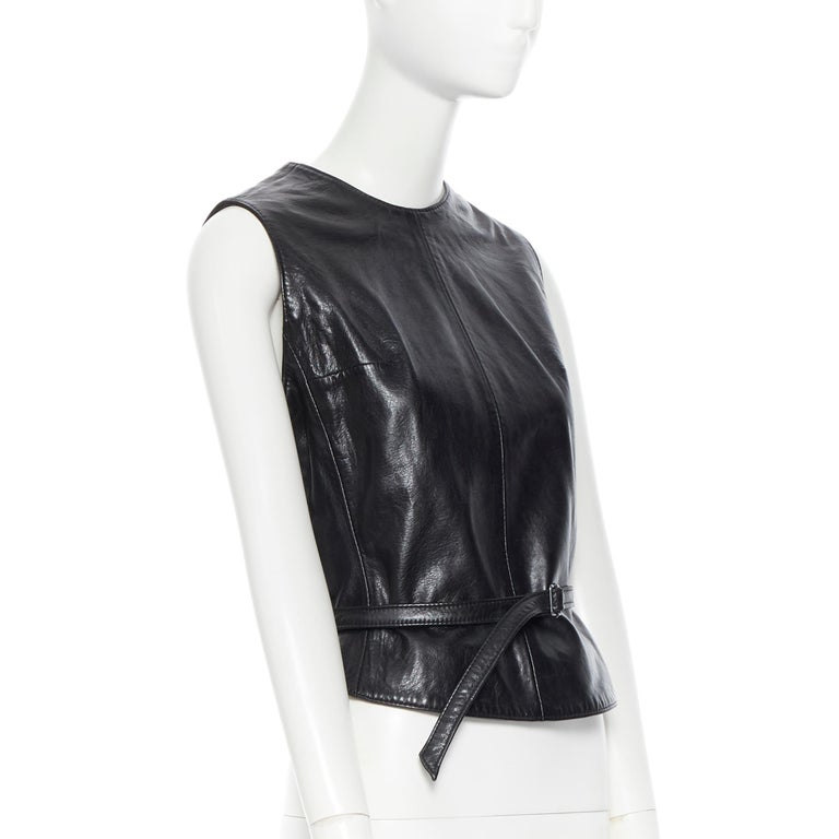 ANN DEMEULEMEESTER vintage leather chest plate armor belted vest top FR38 M In Excellent Condition For Sale In Hong Kong, NT
