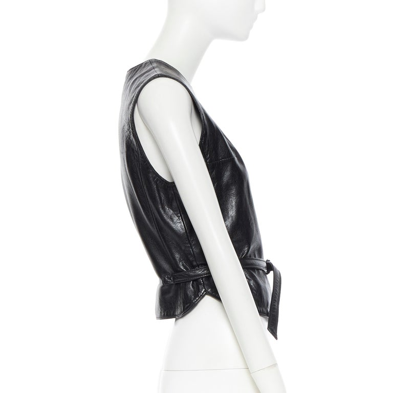 Women's ANN DEMEULEMEESTER vintage leather chest plate armor belted vest top FR38 M For Sale