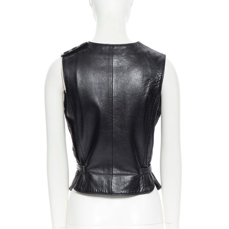 ANN DEMEULEMEESTER vintage leather chest plate armor belted vest top FR38 M For Sale 1