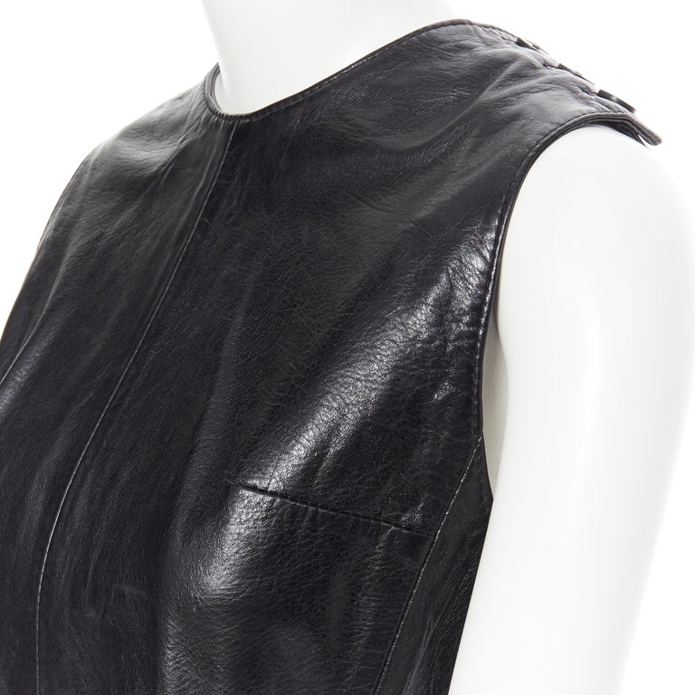 ANN DEMEULEMEESTER vintage leather chest plate armor belted vest top FR38 M For Sale 3
