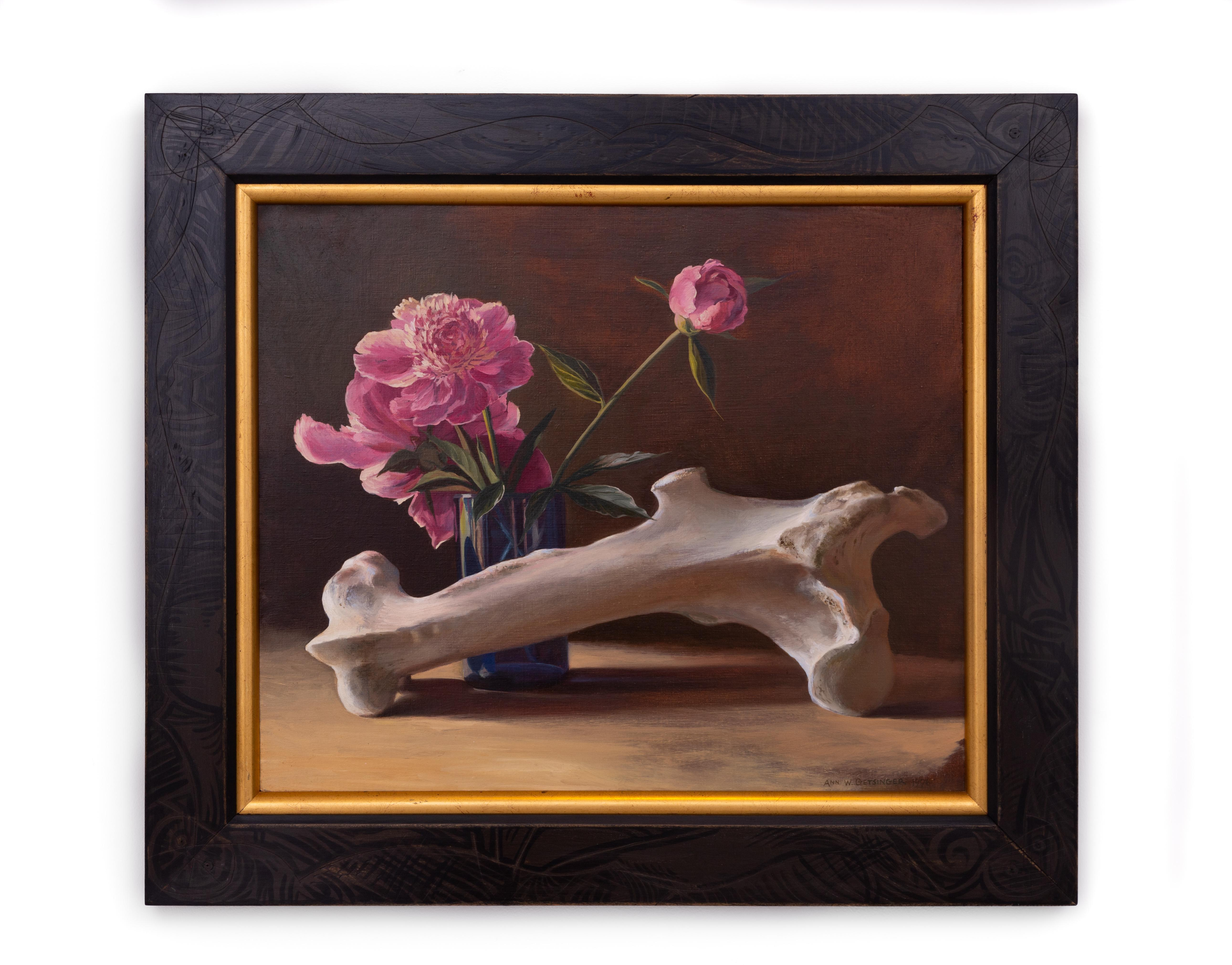 Cow Bone and Peonies (Surreal Still life with earth tones and pink and purple)
