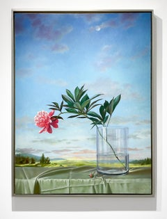 Leaping Peony (Still Life Painting with Pink Flower and Country Landscape)
