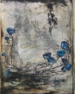 Untold Stories II, No 5: Hand Painted Etching with Collage by Ann-Helen English