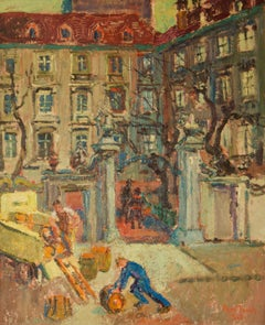 Left Bank Paris - Early 20th Century Impressionist Oil Painting by Ann Tooth