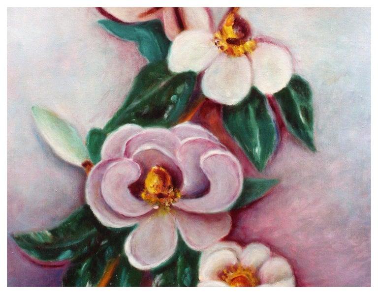 Mid Century Saucer Magnolias  - Painting by Ann McKee