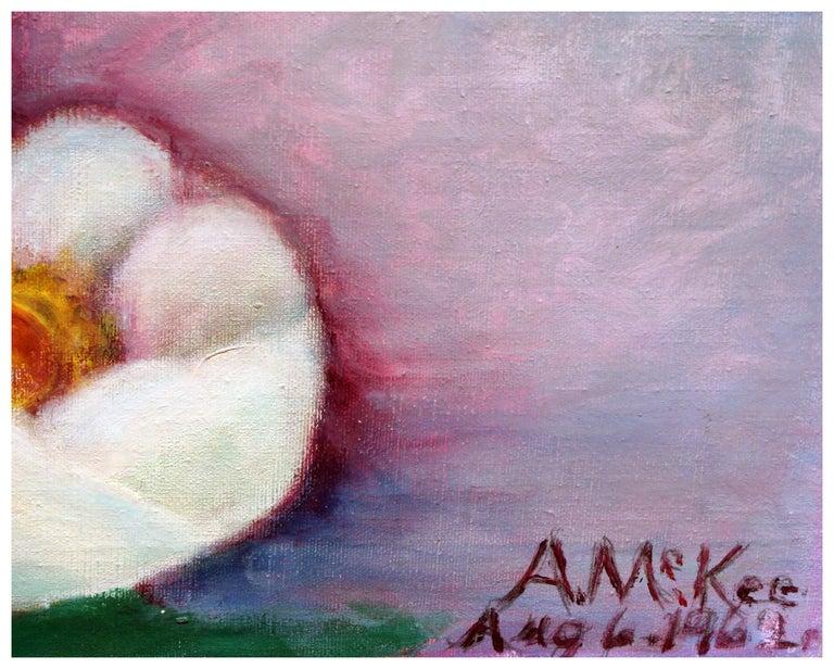 Mid Century Saucer Magnolias  - Gray Still-Life Painting by Ann McKee