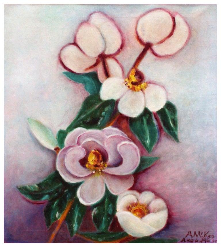 Ann McKee Still-Life Painting - Mid Century Saucer Magnolias