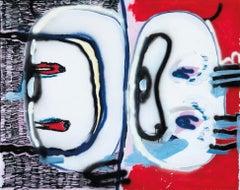 2eyes1look, Acrylic, chalk, spray, marker on canvas, 180 x 135 cm, 2021