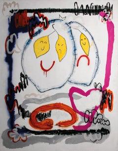 Emotionallemons, Acrylic, chalk, spray, marker on canvas, 180 x 135 cm, 2021