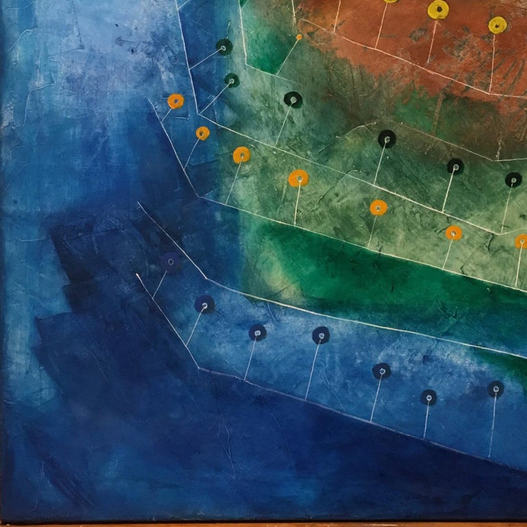 ANNA CASSER (1943- ) Born in Verona, Italy,  Anna Caser was educated at the Fine Arts School in Genoa, Italy.  Her works can be seen in Italy, Europe, UAE, USA and Canada at important private and public collections. Inspired by Paul Klee, Caser