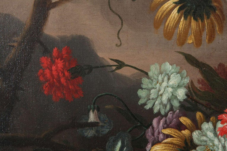 Pair of Exceptional Italian Still Life  Paintings of Flowers  18th century For Sale 7