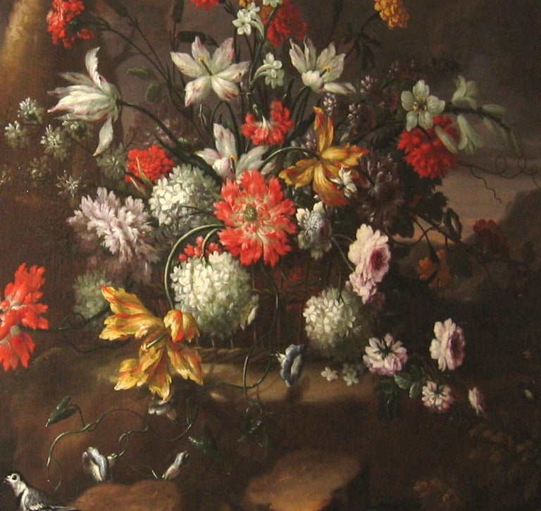 Pair of Exceptional Italian Still Life  Paintings of Flowers  18th century For Sale 10
