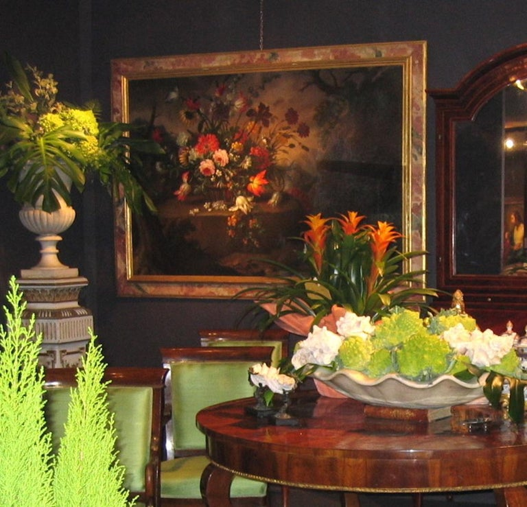 Pair of Exceptional Italian Still Life  Paintings of Flowers  18th century For Sale 11
