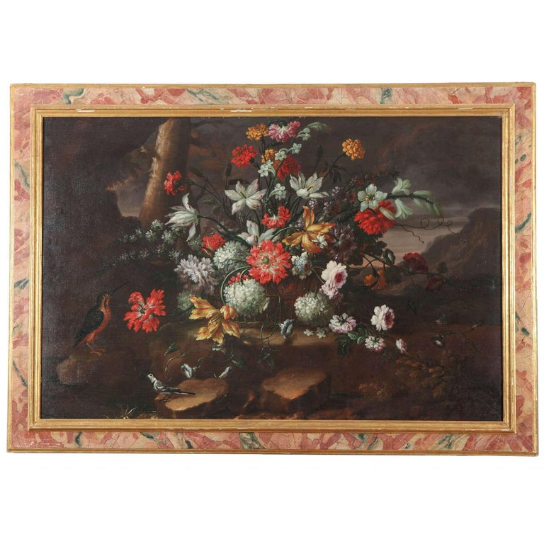 Pair of Exceptional Italian Still Life  Paintings of Flowers  18th century - Brown Figurative Painting by Anna Caterina Gilli