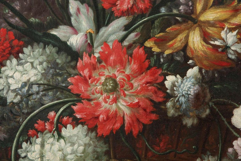 Pair of Exceptional Italian Still Life  Paintings of Flowers  18th century For Sale 1
