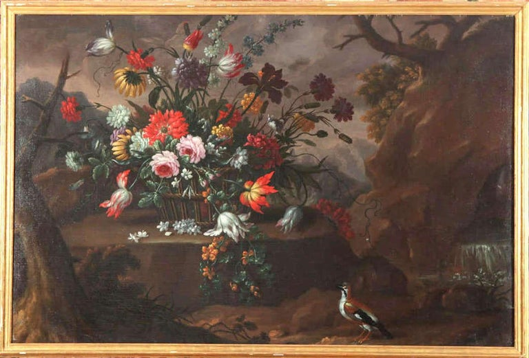Pair of Exceptional Italian Still Life  Paintings of Flowers  18th century For Sale 3