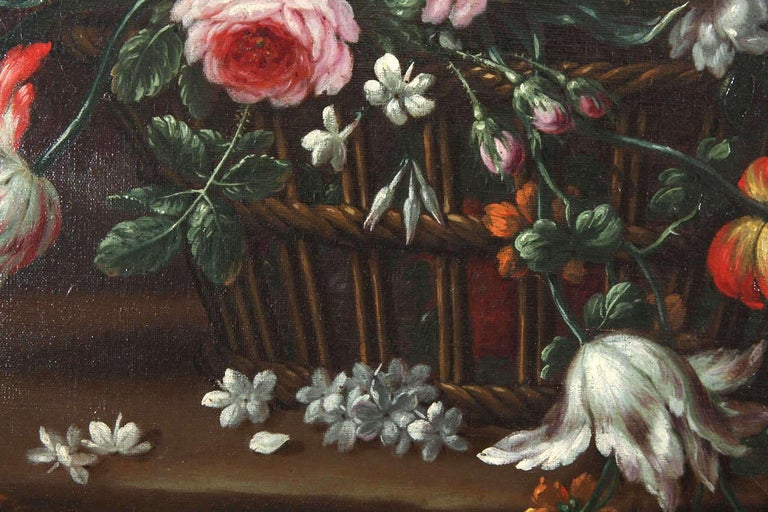 Pair of Exceptional Italian Still Life  Paintings of Flowers  18th century For Sale 4